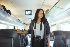 Travel concept. Tourist woman with