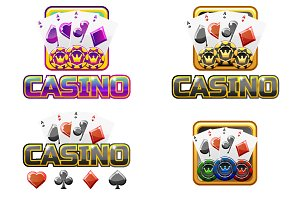 Vector set casino icons for gambling