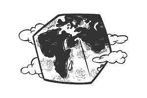 Cubic planet earth engraving vector