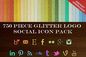 750 Glitter Blog Button Icons