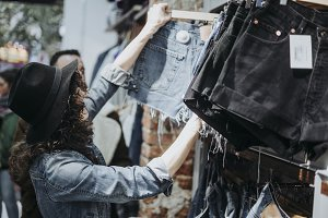 Woman buying clothes at the fashion