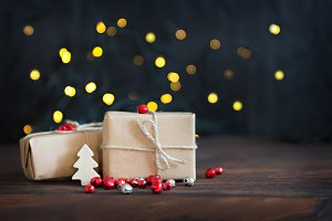 Gifts wrapped in brown paper