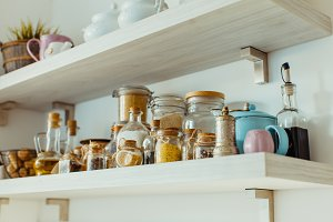 Open shelves with various food and
