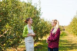 Happy young women talking in apple