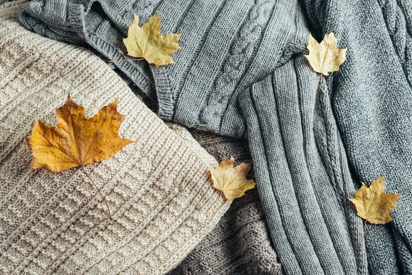 Beauty & Fashion Stock Photos - Warm winter sweaters with dry leaves