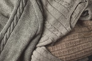 Close-up of warm winter sweater