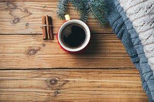 Coffee mug with winter warm knitted