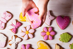Sweet holiday gingerbreads for girl