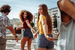 Friends walking and enjoying