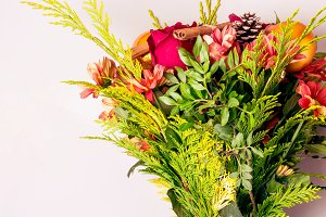 Winter Christmas bouquet of conifero