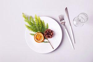 Christmas minimalistic table setting