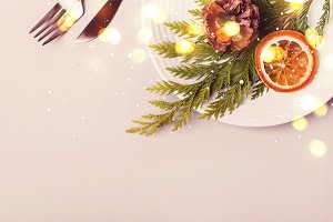 Holiday christmas Plate and cutlery