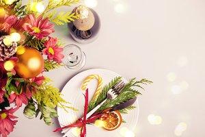 Holiday Christmas table setting. Win