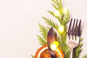 Christmas table setting concept. For