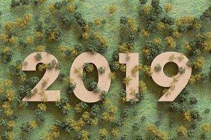 2019 in the woods, 3D rendering