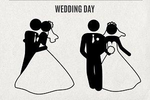 Wedding man print stick figure