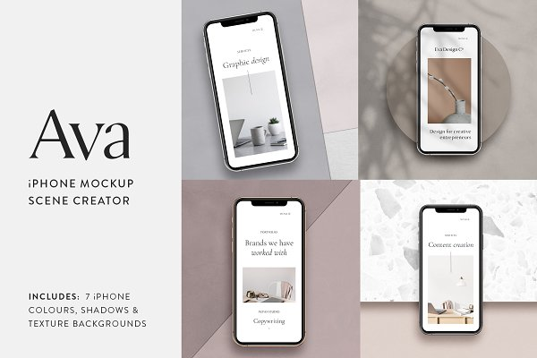 Product Mockups: Moyo Studio - Ava - iPhone Mockup Scene Creator