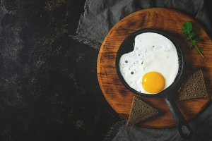 Fried egg in the pan. Dark