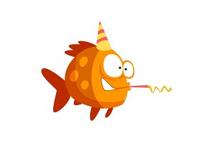 Cute funny fish in party hat with