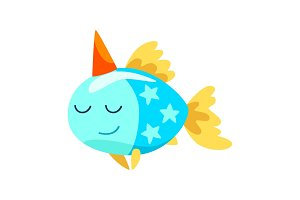 Lovely fish wearing party hat, cute