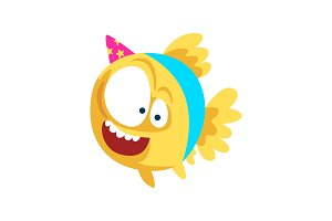 Funny fish in party hat, little sea