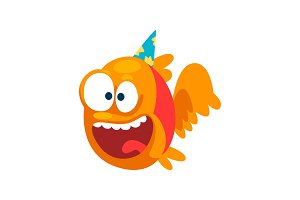 Funny smiling fish in party hat