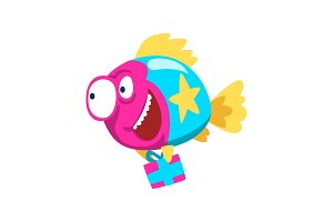 Cute colorful smiling fish holding