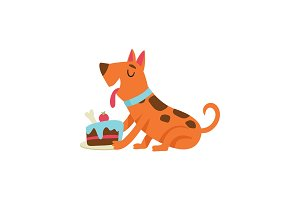 Cute dog eating cake, funny cartoon