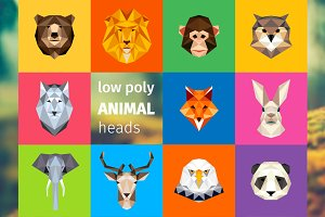Animal heads, low poly illustrations