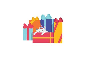 Cute dog sleeping on gift boxes