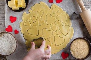 Baking love heart cookies