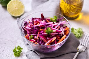 Healthy red cabbage winter salad