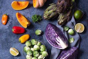 Healthy vegan cooking ingredients