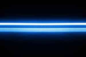 Horizontal blue neon line