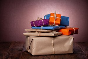 Gift packages in kraft paper of diff