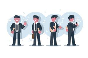 Set of cartoon businessmen character