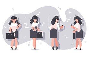 Set of cartoon businesswomen