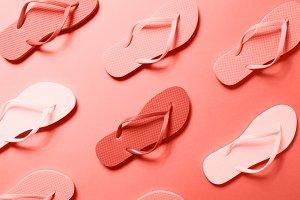 Living coral - Flip flops pattern