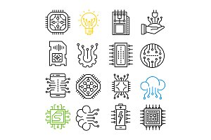 Electronics icons set