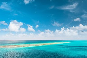 Turquoise sea water perfect blue sky