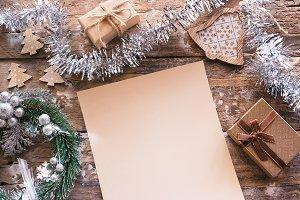 wish list on wooden background