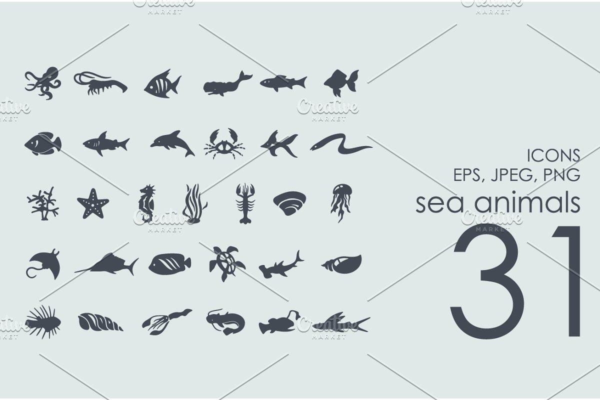 31 sea animals icons