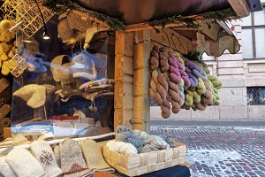 Knitted goods displayed for sale