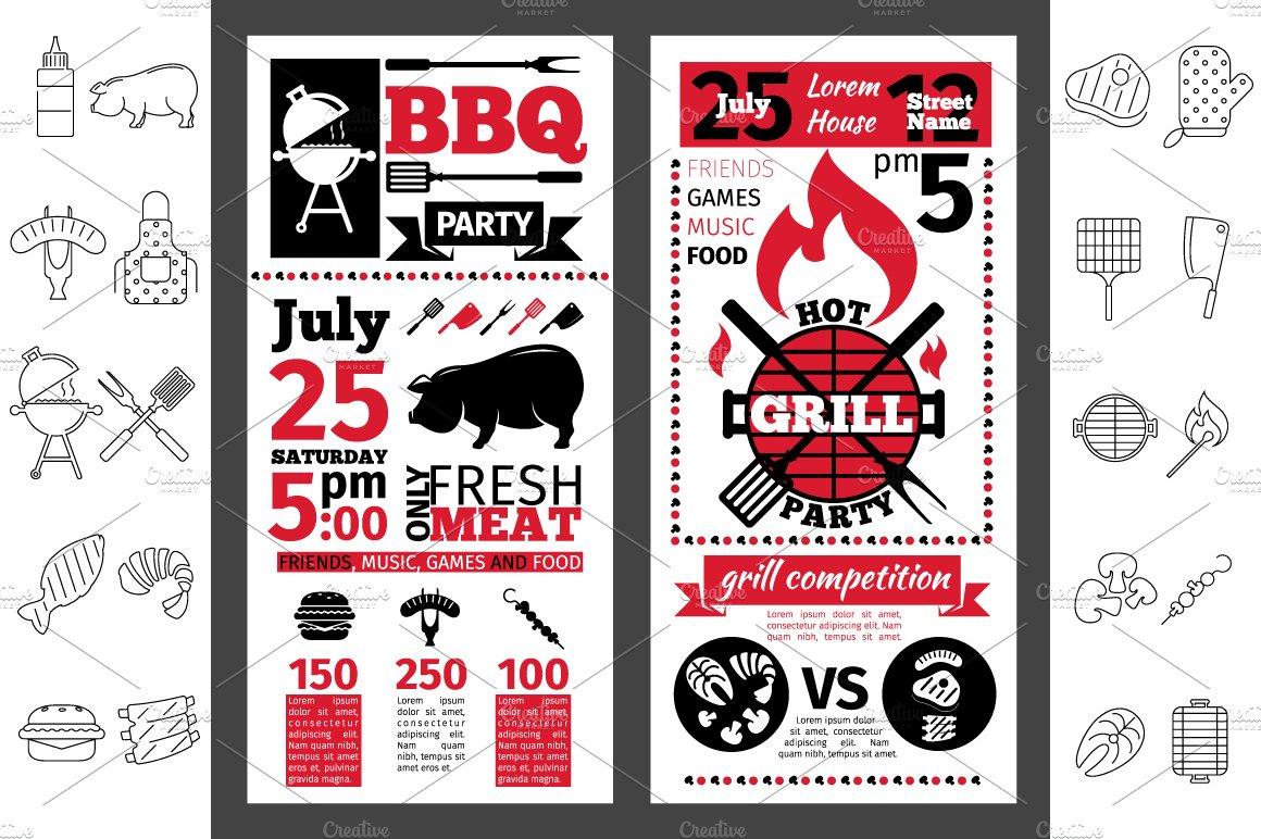 barbecue party invitation line icon graphics creative market