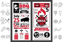 Barbecue party invitation. Line icon