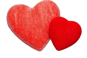 Two red valentine hearts isolated on