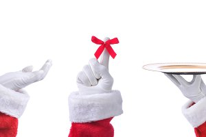 Three Santa Claus Hands in Different