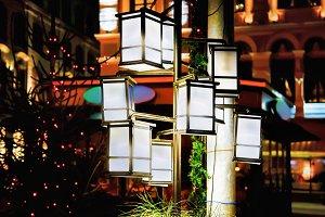 Lanterns illuminated with light
