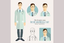 Doctors and medical staff, icons set