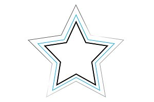 Star with silver outlines